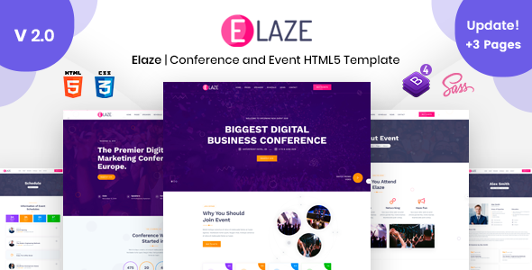 Elaze - Conference | Event HTML Template by TechyDevs