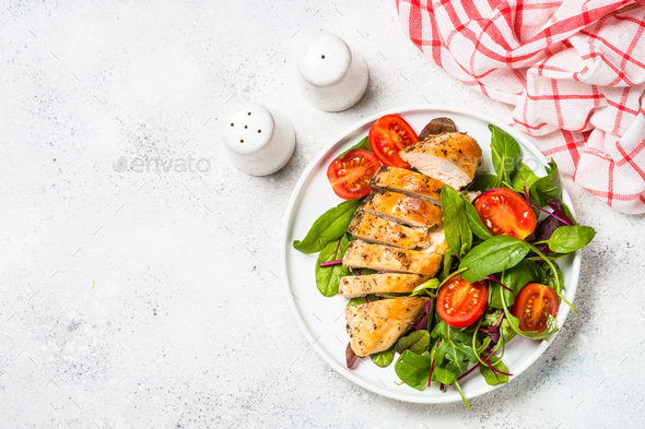 Chicken fillet with salad top view - Stock Photo - Images