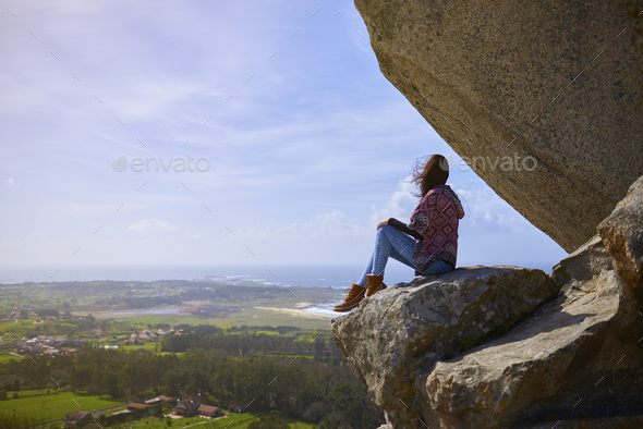 Young woman on the Pedra da Ra viewpoint - Stock Photo - Images