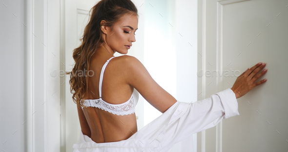Beautiful sexy young woman with glamorous face - Stock Photo - Images