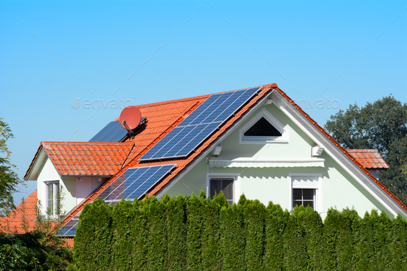 Modern House with Photovoltaic System - Stock Photo - Images