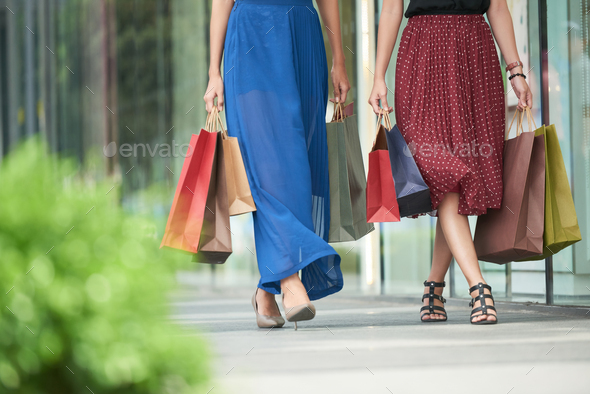 Women shopping in city - Stock Photo - Images