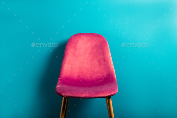 Modern Pink Velour Chair on wooden legs - Stock Photo - Images