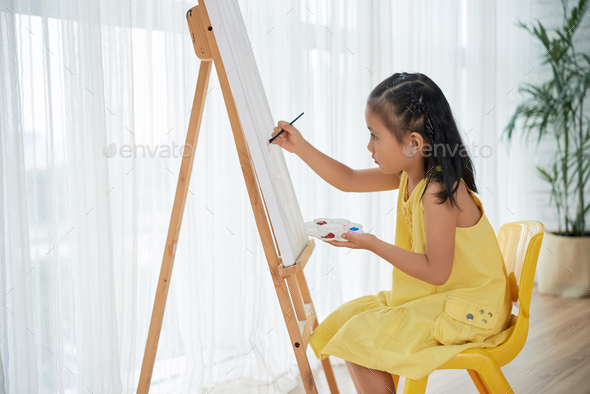 Painting girl - Stock Photo - Images
