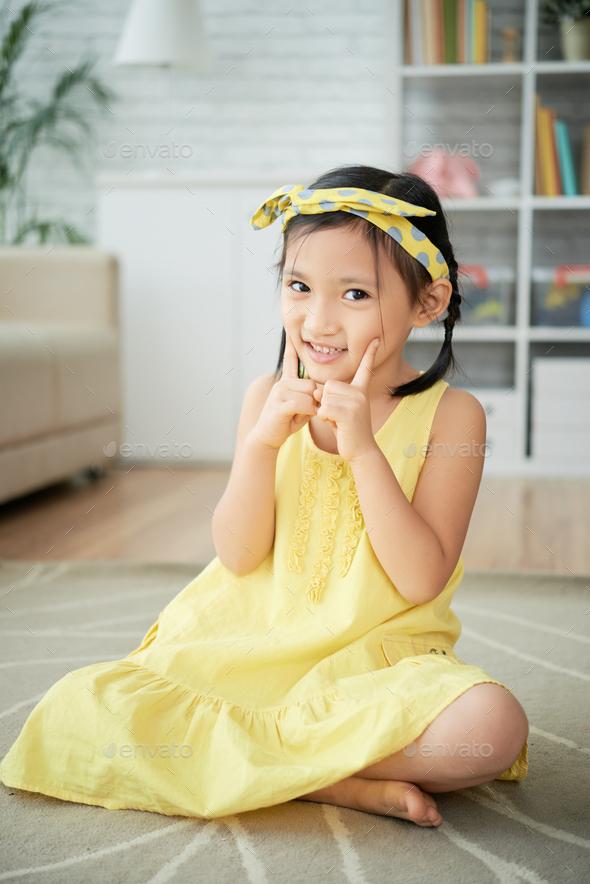 Joyful cute girl - Stock Photo - Images