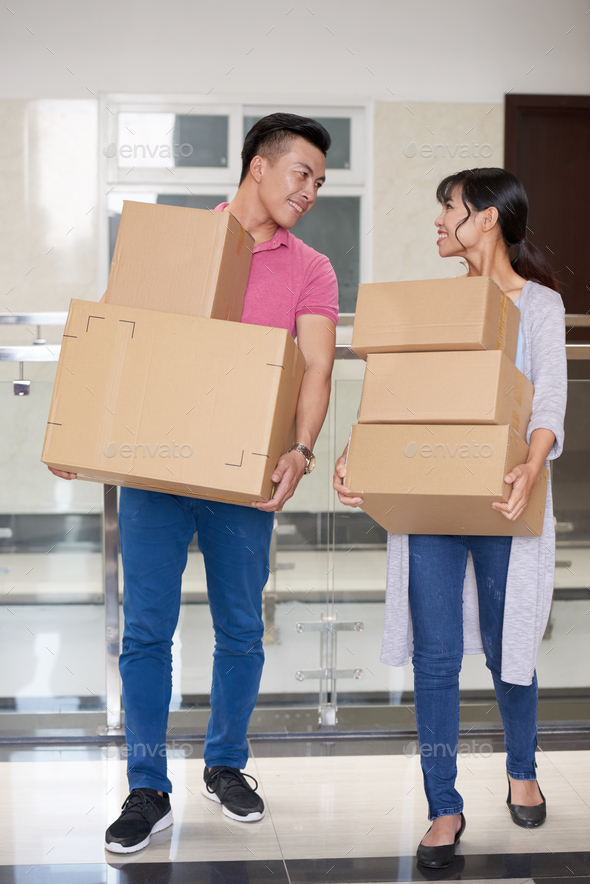 Happy Couple Moving - Stock Photo - Images