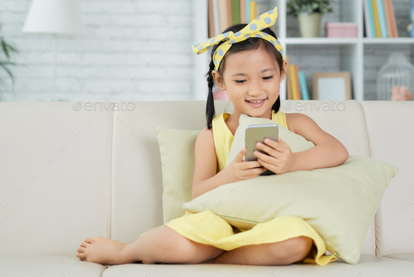 Girl using mobile app - Stock Photo - Images