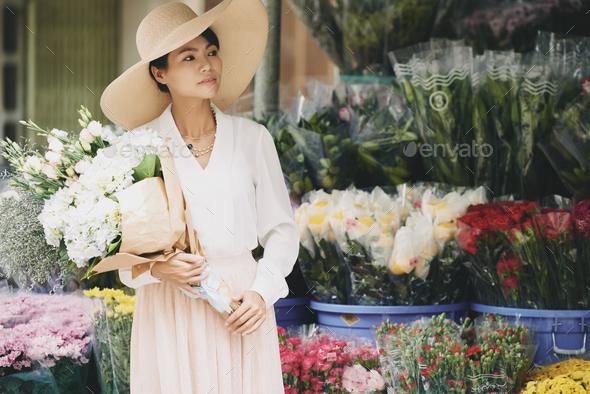 Flower lady - Stock Photo - Images