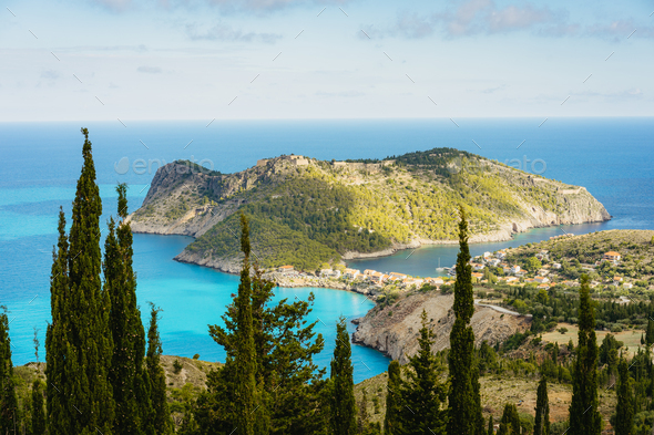 View to famous Assos village and venetian fortress, beautiful seashore scenery, Kefalonia island - Stock Photo - Images