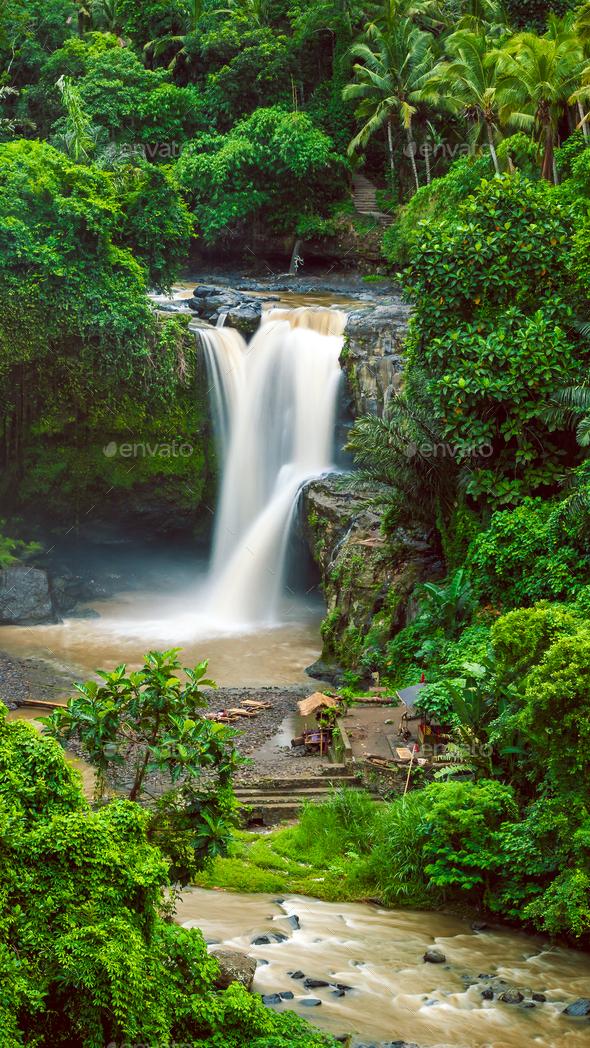 Amazing Tegenungan Waterfall near Ubud in Bali, Indonesia - Stock Photo - Images