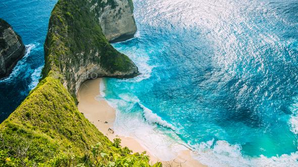 Manta Bay or Kelingking Beach on Nusa Penida Island, Bali, Indonesia - Stock Photo - Images