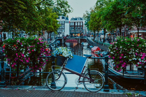 Vibrant flowers and bicycle bike on a bridge of Amsterdam at early evening. Twilight on the famous - Stock Photo - Images