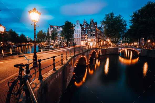 Night cityview of Famous Keizersgracht Emperor's canal in Amsterdam, tranquil scene with street - Stock Photo - Images