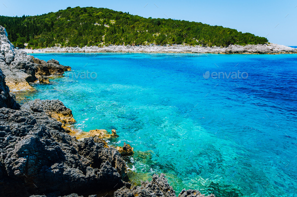 Dafnoudi beach in Kefalonia, Greece. Clear ripple water Stunning amazing charming places, famous - Stock Photo - Images