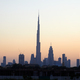 Dubai skyline with Burj Khalifa skyscraper at sunset, clear sky in United Arab Emirates - PhotoDune Item for Sale