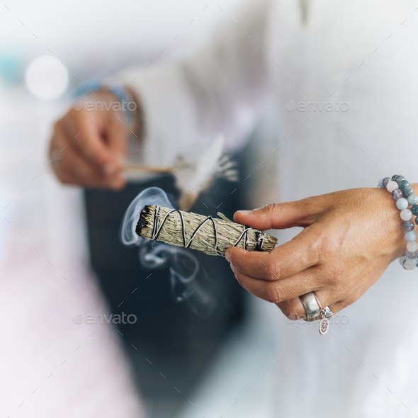 Smudging - Dried Sage Bundle Close up - Stock Photo - Images