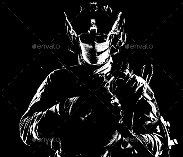 Modern army elite forces shooter in darkness - Stock Photo - Images