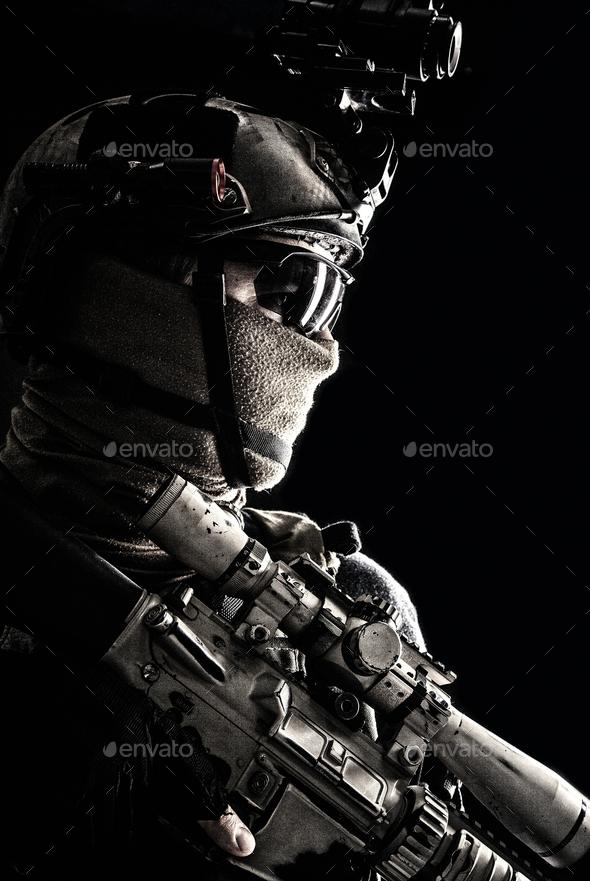 Army elite troops sniper low key studio portrait - Stock Photo - Images