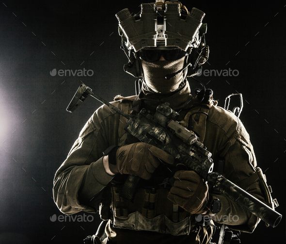 Military security service shooter soldier studio portrait - Stock Photo - Images