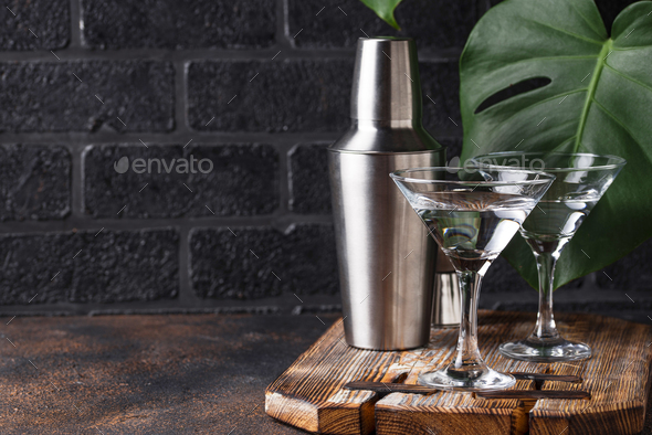 Two glasses of martini cocktail - Stock Photo - Images