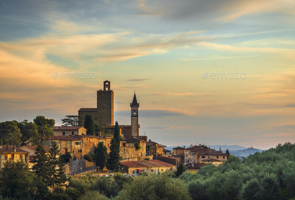 Vinci, Leonardo birthplace, view and bell tower of the church. Florence, Tuscany Italy - Stock Photo - Images