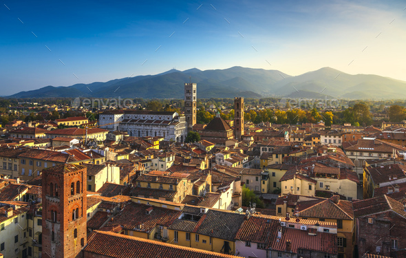 Lucca panoramic aerial view of city and San Martino Cathedral. Tuscany, Italy - Stock Photo - Images