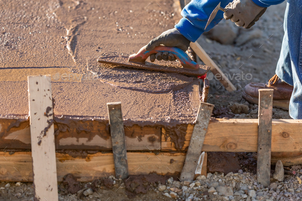 Construction Worker Smoothing Wet Cement With Trowel Tools - Stock Photo - Images