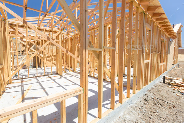 Wood Home Framing Abstract At Construction Site. - Stock Photo - Images