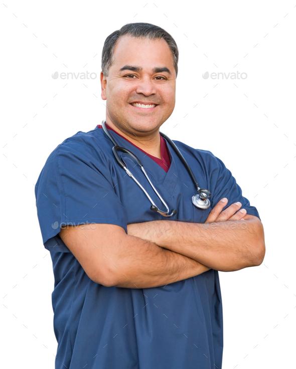 Hispanic Male Nurse Isolated On White - Stock Photo - Images