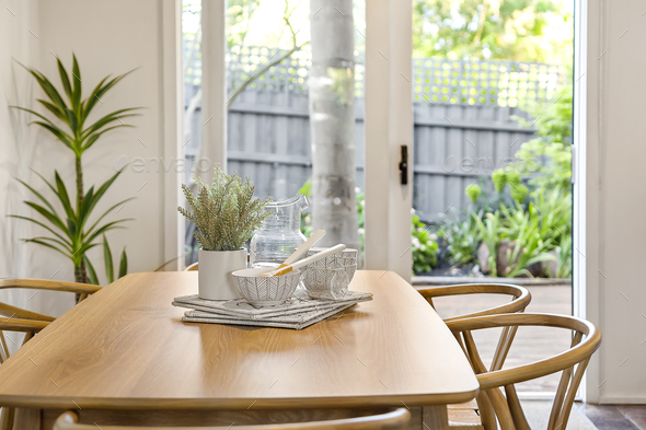 Wooden dining table - Stock Photo - Images
