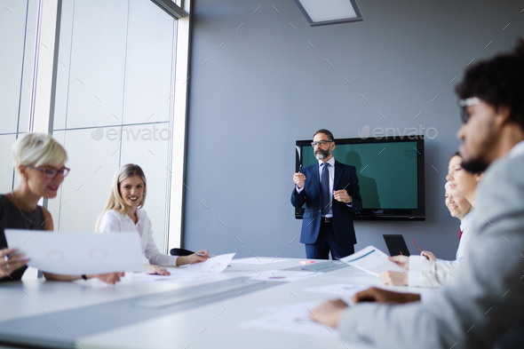Business people conference and meeting in modern office - Stock Photo - Images