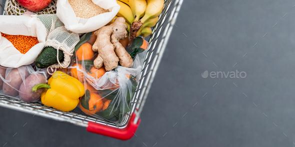 Food waste, zero waste shopping in supermarket - Stock Photo - Images