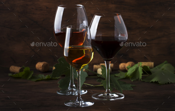 Red, white and rose wine in assortment - Stock Photo - Images