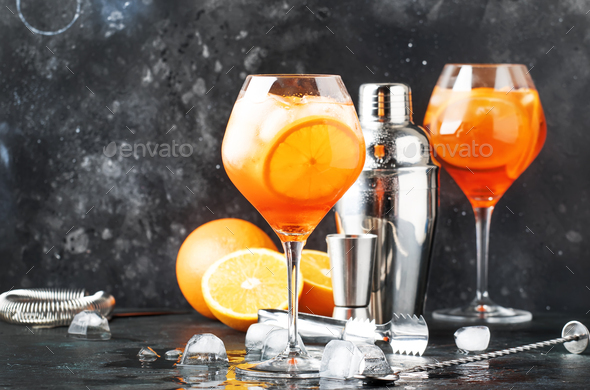 Aperol spritz cocktail in big wine glass - Stock Photo - Images