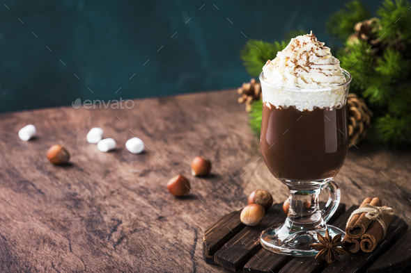 Hot chocolate with whipped cream - Stock Photo - Images