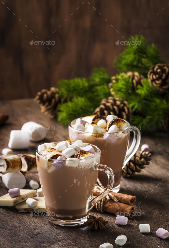 Hot cocoa or chocolate with marshmallow - Stock Photo - Images