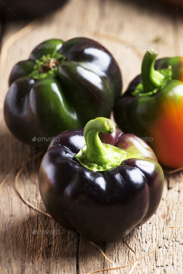 Black bell pepper - Stock Photo - Images