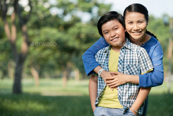 Spending Day with Mom at Public Park - Stock Photo - Images