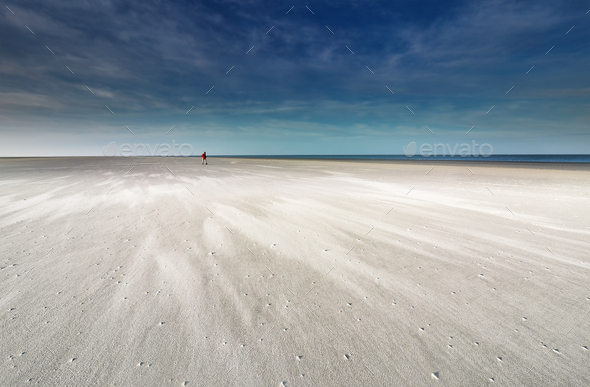 lone man walking on sand beach by North sea - Stock Photo - Images