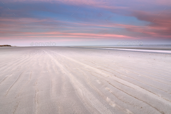 beach view on lone ship on North sea - Stock Photo - Images