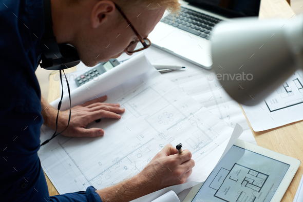 Architect working on project - Stock Photo - Images