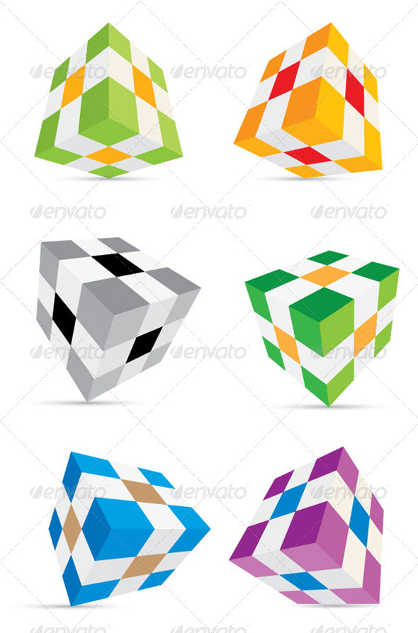 3D Cube Set - Miscellaneous Vectors