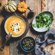 Flat-lay of autumn warming pumpkin soup in bowl - PhotoDune Item for Sale