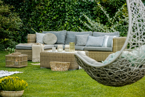 Modern designed garden - Stock Photo - Images