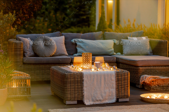 Evening on a terrace - Stock Photo - Images