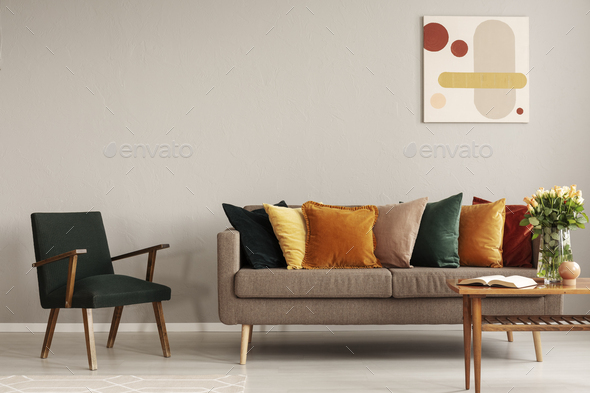 Retro style in beautiful living room interior with grey empty wall - Stock Photo - Images