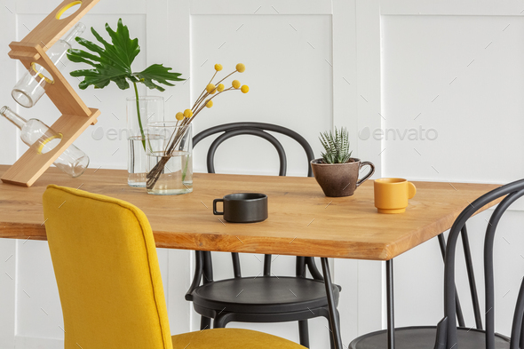 Stylish Yellow Chair At Wooden Dining, Yellow And White Dining Room