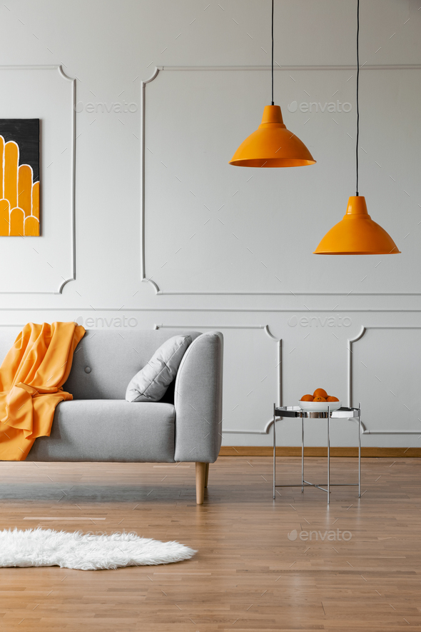 Stylish abstract paining on the wall of trendy living room interior - Stock Photo - Images