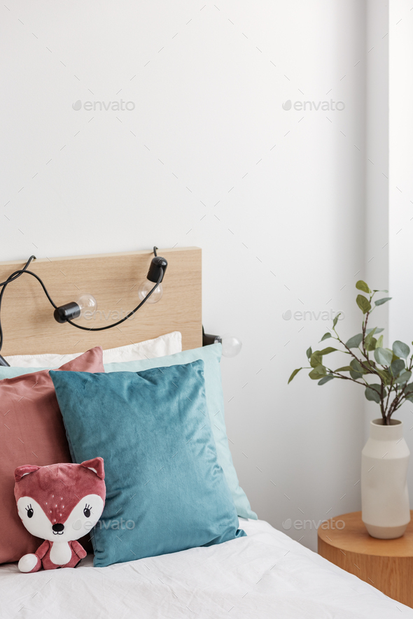 Vertical view od kid's bedroom with single bed - Stock Photo - Images