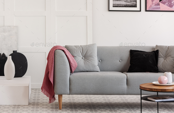Comfortable grey sofa with pillows in elegant living room with scandinavian design - Stock Photo - Images